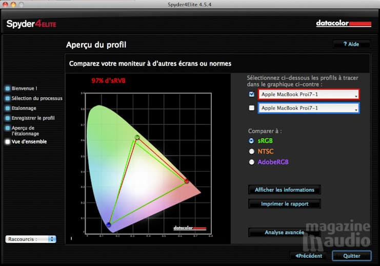 Comparaison de son profil avec les données du logiciel