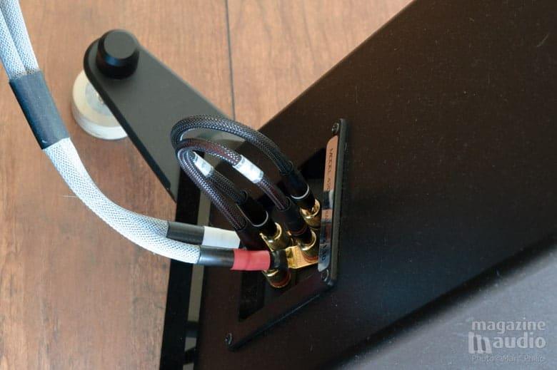 Vue sur les connecteurs arrière sur l'enceinte BG Radia, les straps sont des Furutech rhodium