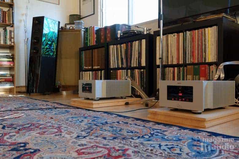 Enceinte acoustique Audio Physic Cardeas et les deux mono blocks Trigon modèle Monolog, câbles Nordost Valhalla