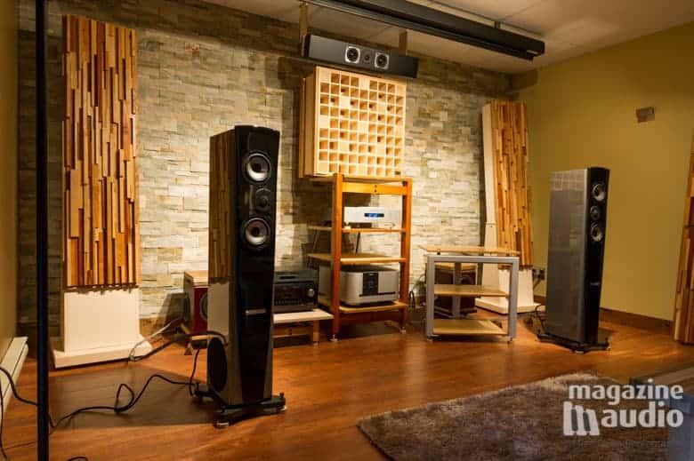 Enceintes acoustiques Genesis 7.2f dans le salon multimedia de référence à Alain Provencher.