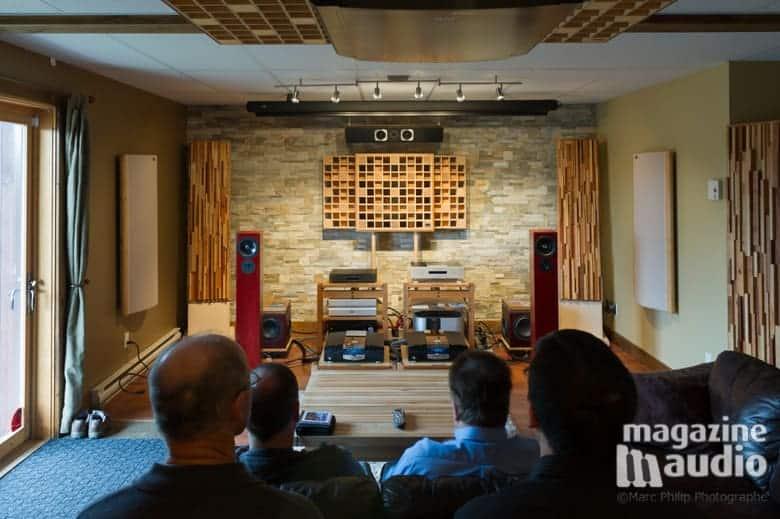 Salon multimédia Pro Design Audio lors du banc d'essai des enceintes Gershman modèle idol et des électroniques MBL.