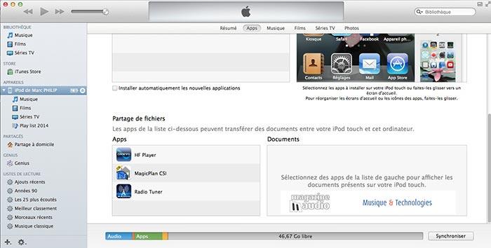 Fenêtre d'édition du Onkyo HF player dans iTunes