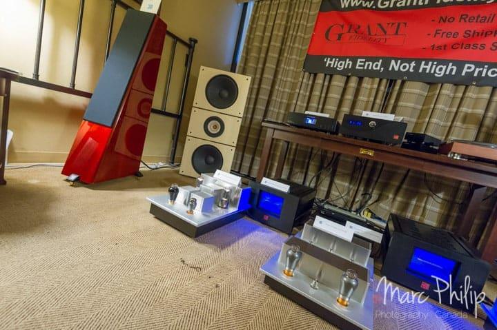 Système Hi-Fi autour de PureAudioProject Trio15TB open baffle et amplificateur Psvane T845 au TAVES 2014