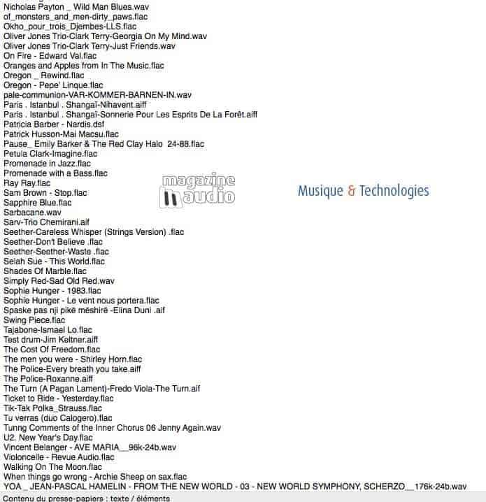 Une infime partie de ma play list lors des écoutes du PureAudioProject 15TB