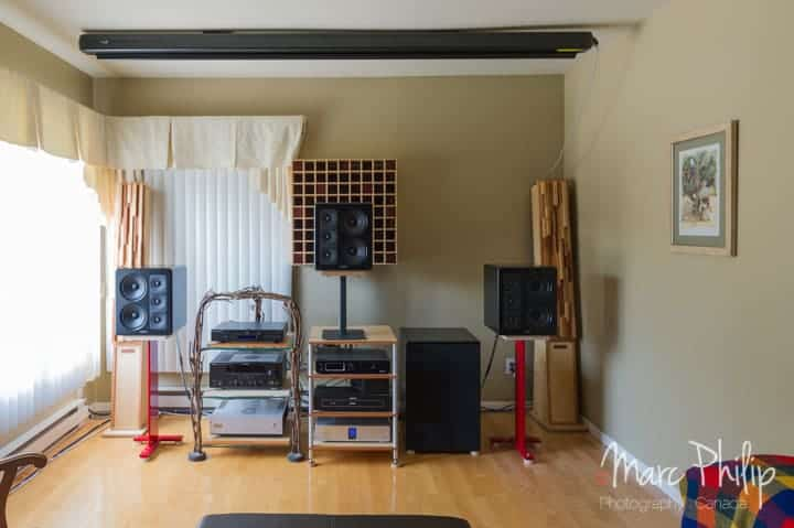 M&K Sound s300 THX + X12 THX Ultra 2 subwoofer écran rétracté